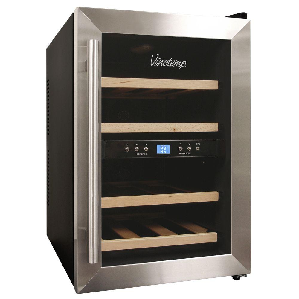 Vinotemp 12-Bottle Dual Zone Wine Cooler, Black-DISCONTINUED