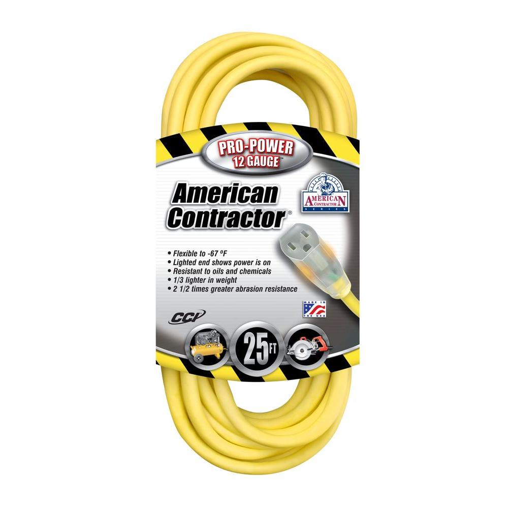 25 ft. 12/3 SJEO Outdoor Heavy-Duty T-Prene Extension Cord with Power