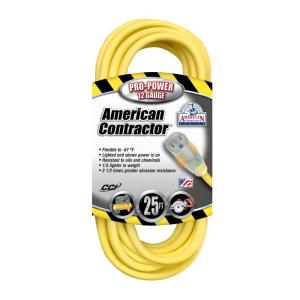 American Contractor 25 ft. 12/3 SJEO Outdoor Heavy-Duty T-Prene Extension Cord... by American Contractor