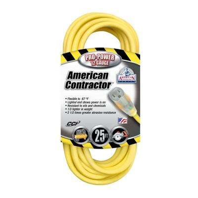 25 ft. 12/3 SJEO Outdoor Heavy-Duty T-Prene Extension Cord with Power Light Plug