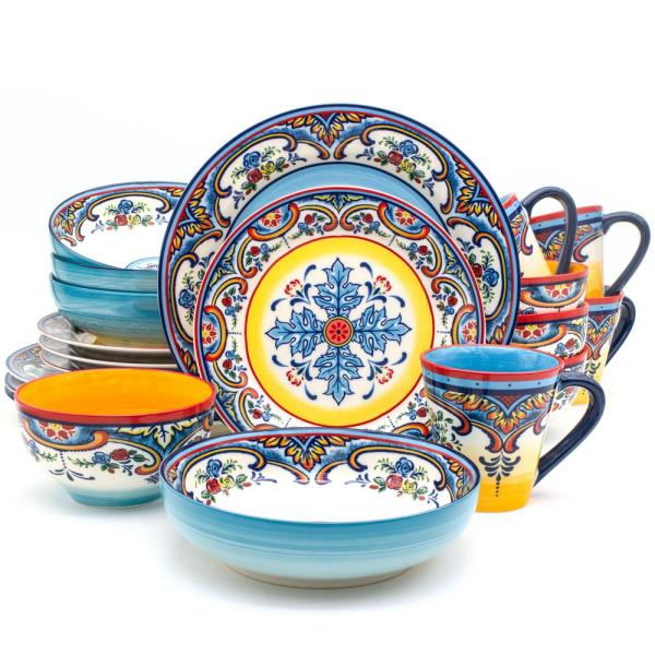 Zanzibar 20-Piece Patterned Multicolor/Spanish Floral Design Ceramic (Service for 4)