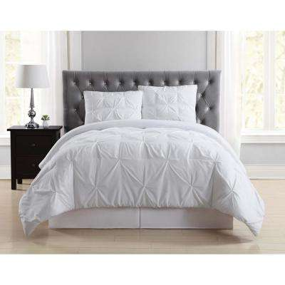Everyday Pleated White Full/Queen Comforter Set