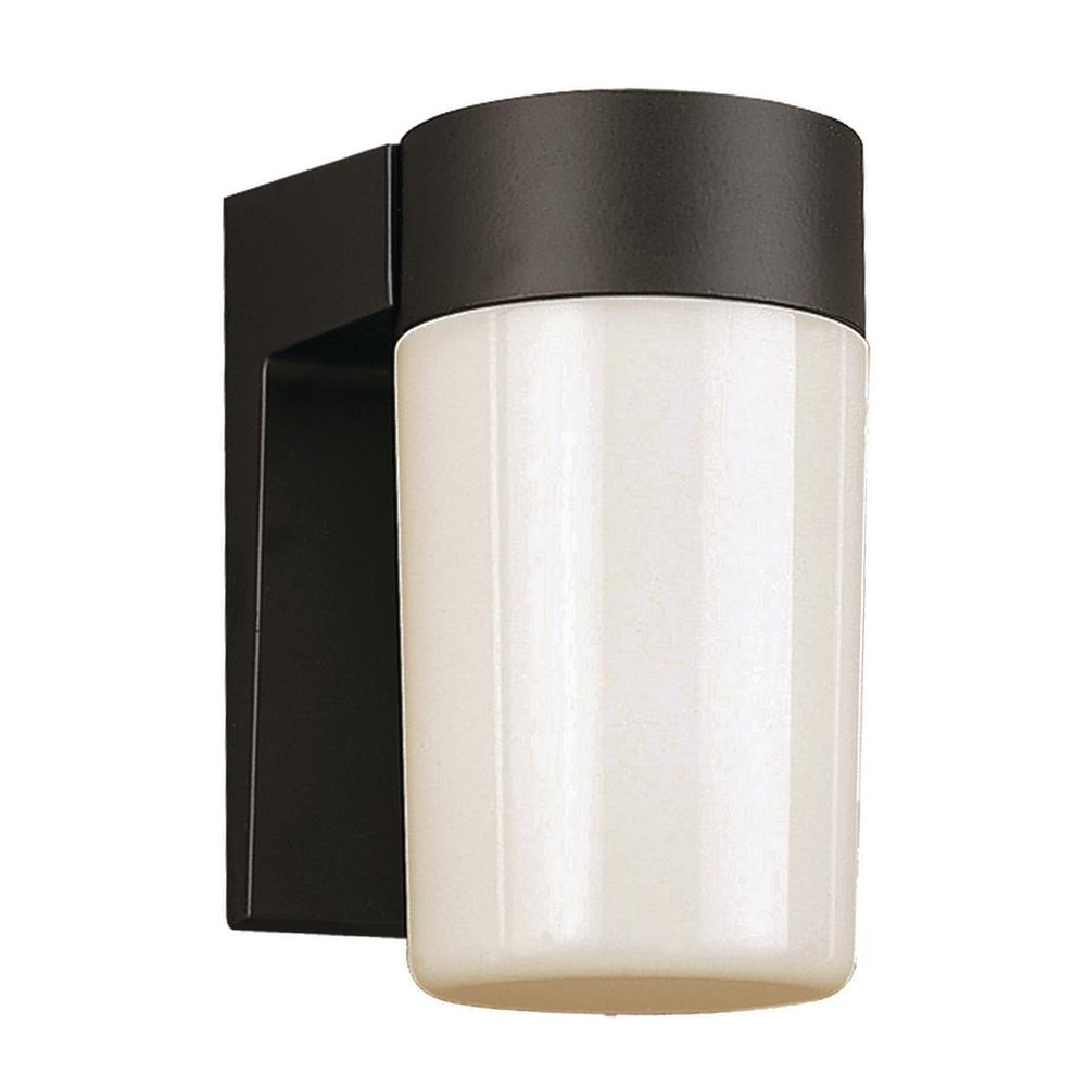 1-Light Outdoor Black Wall Lantern with Opal Glass