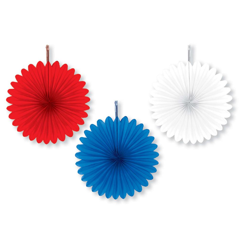 AMSCAN 6 in. Red, White and Blue Mini Paper Fan (5-Count,...