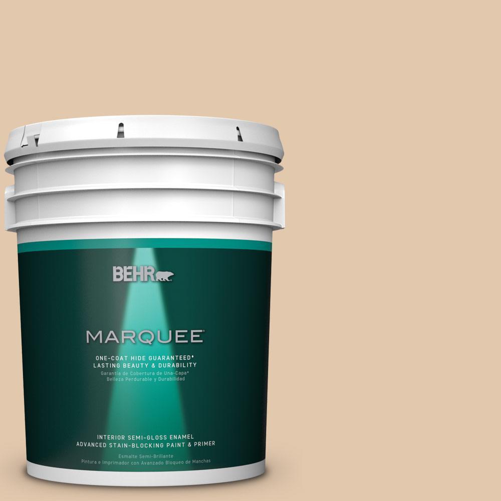 5 gal. #MQ2-8 Irish Cream One-Coat Hide Semi-Gloss Enamel Interior Paint