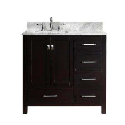 Caroline Avenue 36 in. W Bath Vanity in Espresso with Marble Vanity Top in White with Square Basin