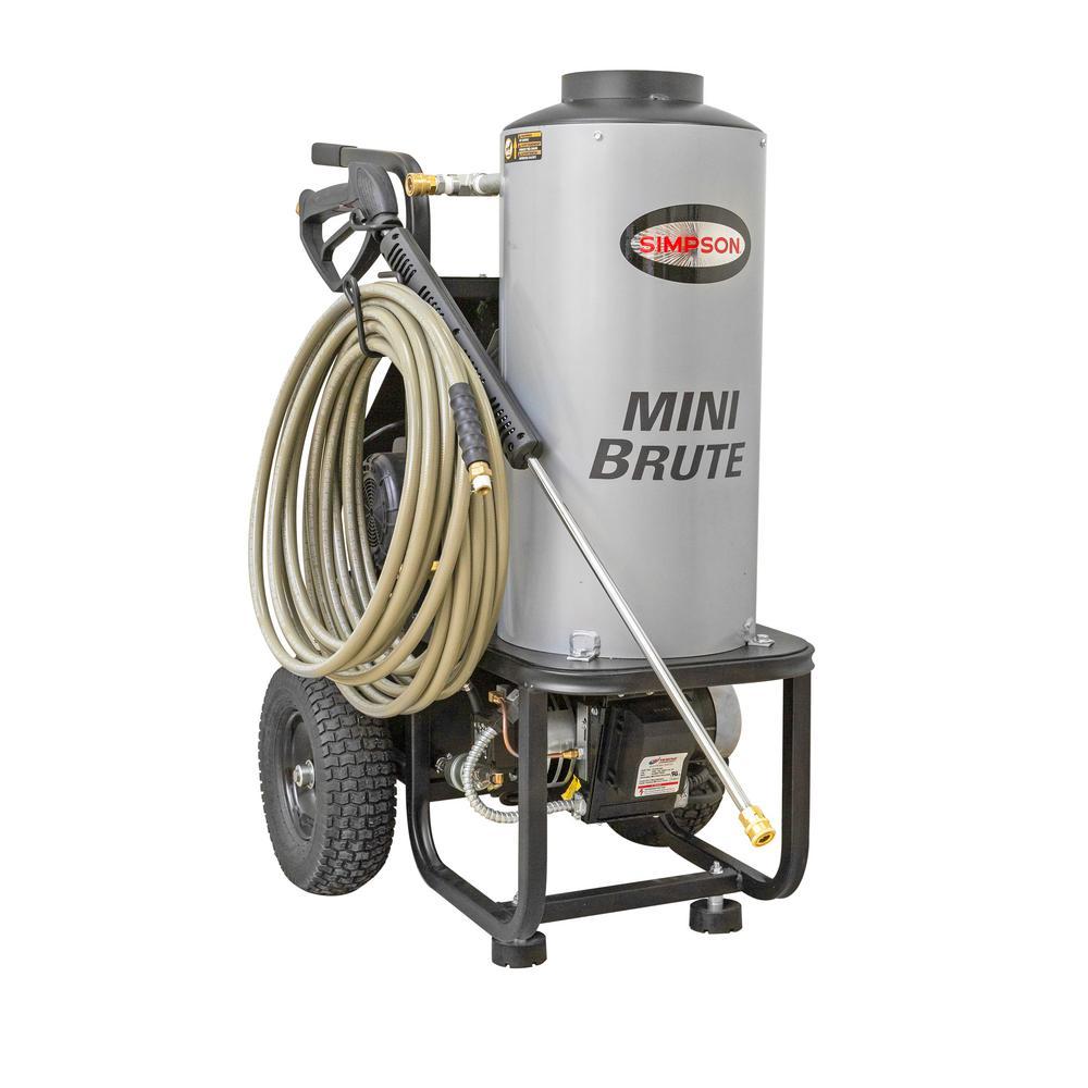 Mini Brute 1500 PSI at 1.8 GPM with Triplex Plunger Pump Hot Water Professional Electric Pressure Washer