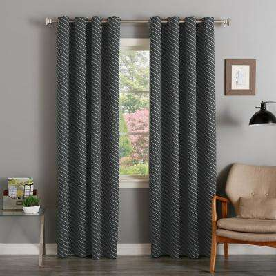 84 in. L Room Darkening Diagonal Stripe Curtain Panel in Dark Grey (2-Pack)
