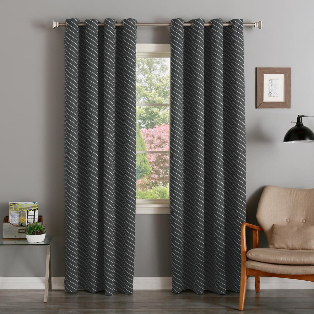 84 inch L Room Darkening Diagonal Stripe Curtain Panel in Dark Grey (2-Pack) by