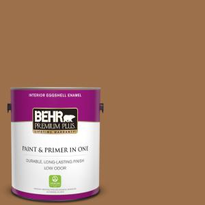 Behr Premium Plus 1 Gal Ppu4 17 Olympic Bronze Eggshell Enamel Low Odor Interior Paint And Primer In One 230001 The Home Depot