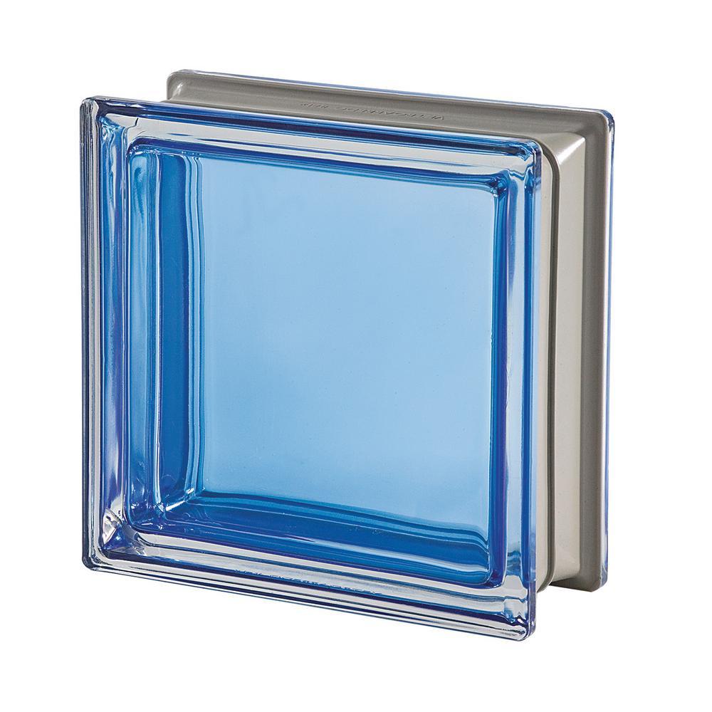 Mendini Q19 Zaffiro 7.48 in. x 7.48 in. x 3.15 in. Clear Pattern Glass Block (5-Pack)