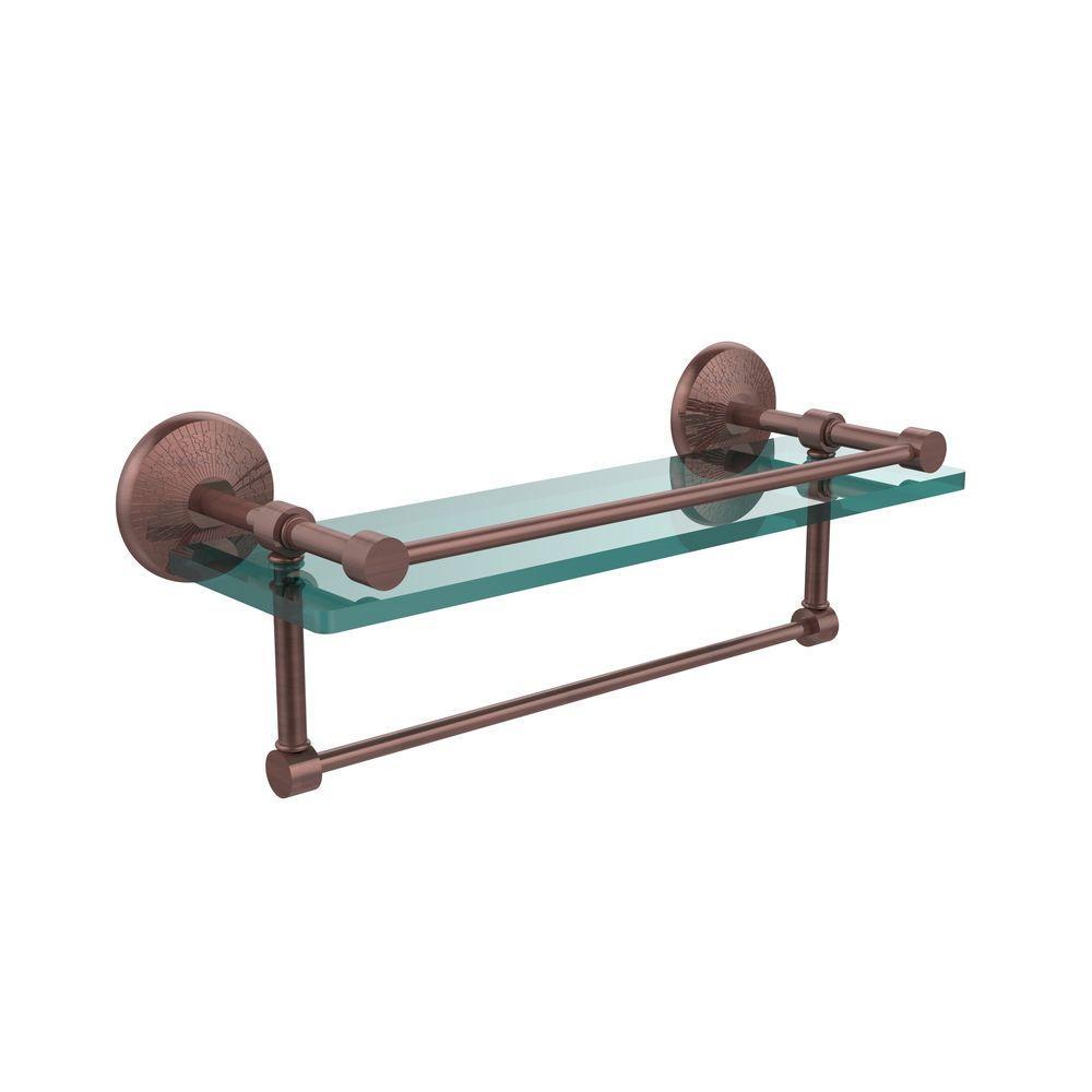 Monte Carlo 16 in. L  x 5 in. H  x 5 in. W Clear Glass Bathroom Shelf with Towel Bar in Antique Copper