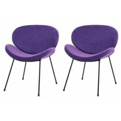 Purple Velvet Shell Dining Chairs Leisure Accent Chair (Set of 2)