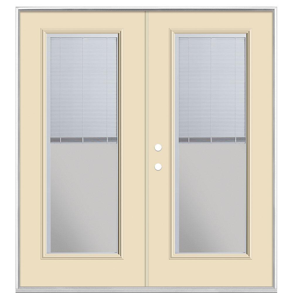 72 in. x 80 in. Golden Haystack Steel Prehung Right-Hand Inswing Mini Blind Patio Door without Brickmold
