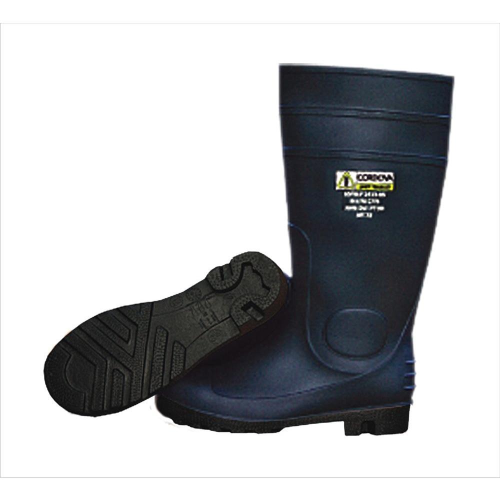 Cordova 16 inch PVC Boot Unlined Black Upper and Sole Eva Insole Plain Toe Kick Off Spur Size 8 by