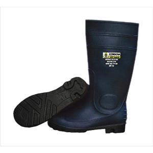 Cordova 16 inch PVC Boot Unlined Black Upper and Sole Eva Insole Plain Toe Kick Off Spur Size 9 by Cordova