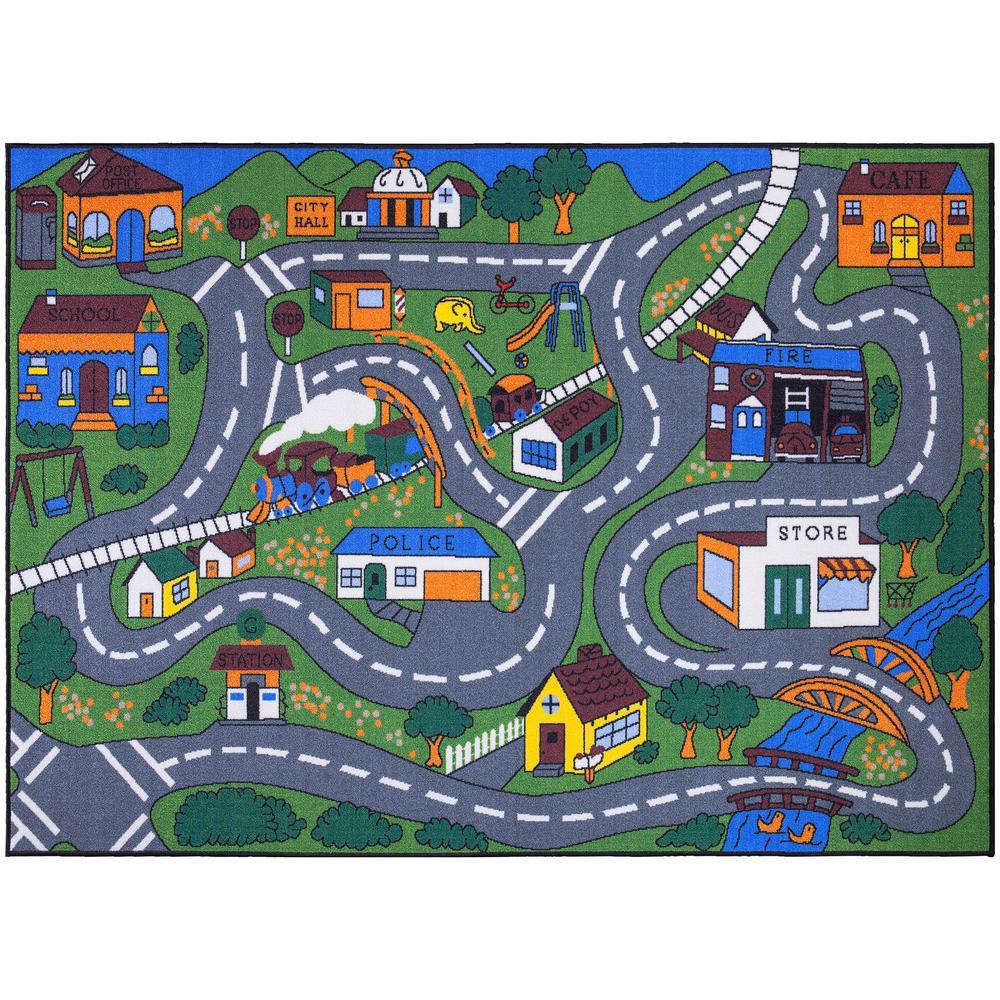 Ottomanson Jenny Collection Grey Road Traffic Design 5 ft. x 7 ft. Non-Slip Kids Area Rug