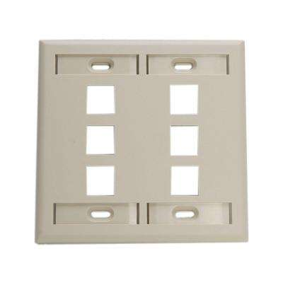 2-Gang QuickPort Standard Size 6-Port Wallplate with ID Windows, Ivory