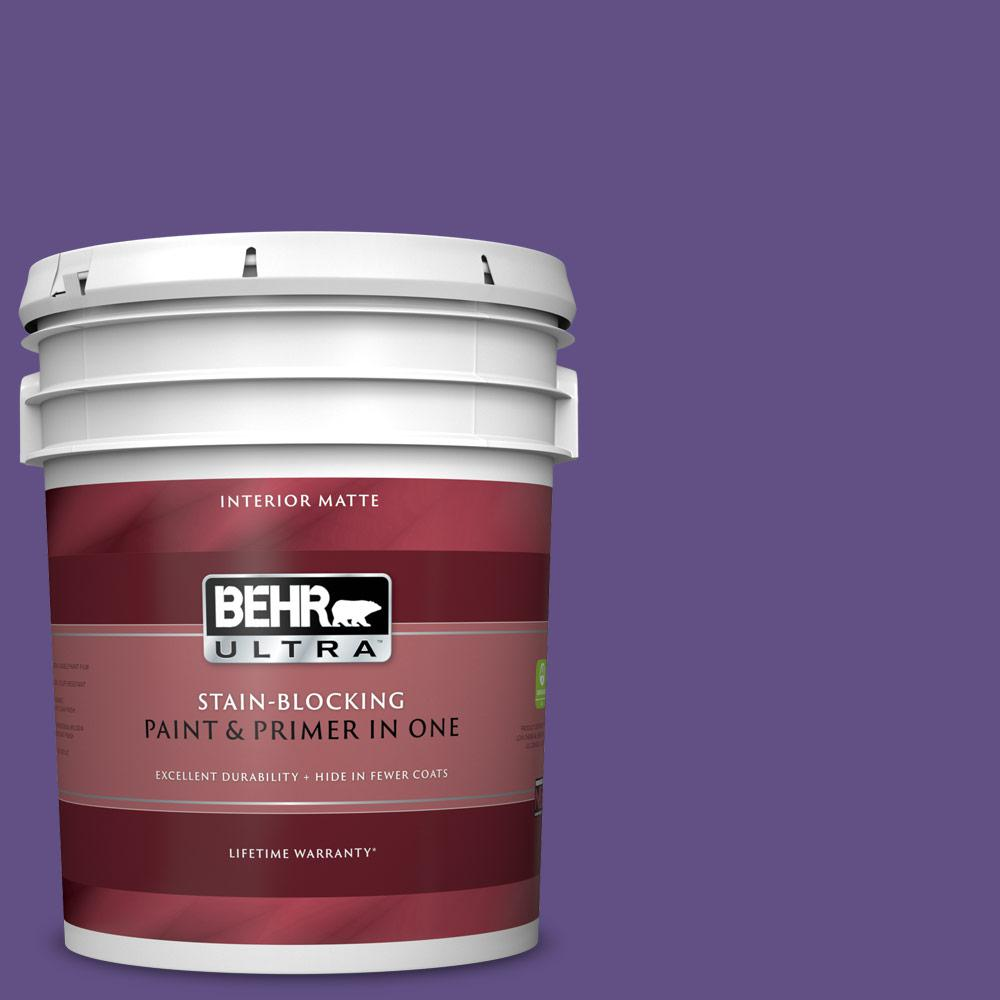 Behr Ultra 5 Gal 640b 7 Berry Jam Matte Interior Paint And Primer In One 175305 The Home Depot