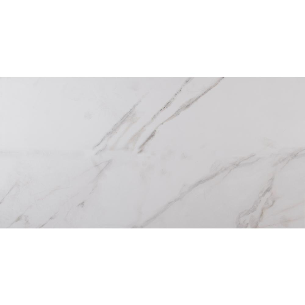 Msi Carrara 12 In X 24 Glazed Polished Porcelain Floor And Wall Tile