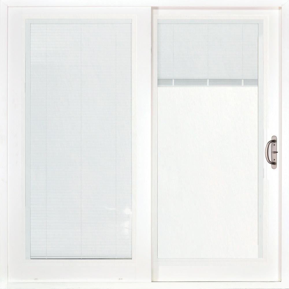 MP Doors 72 in. x 80 in. Smooth White Right-Hand Composite PG50 Sliding Patio Door with Low-E Built in Blinds