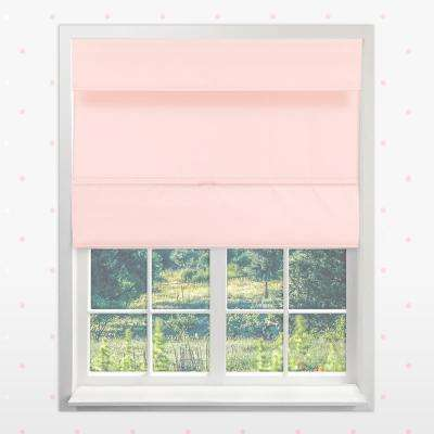 Magnetic Roman Shade Rose Pink Polyester Cordless Roman Shade - 23 in. X 64 in. L