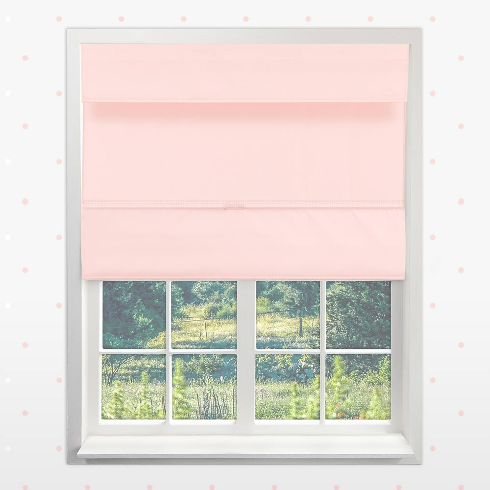 Magnetic Roman Shade Rose Pink Polyester Cordless Roman Shade - 35