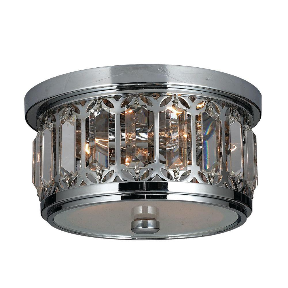 Worldwide Lighting Parlour Collection 3-Light Chrome Crystal Flush Mount