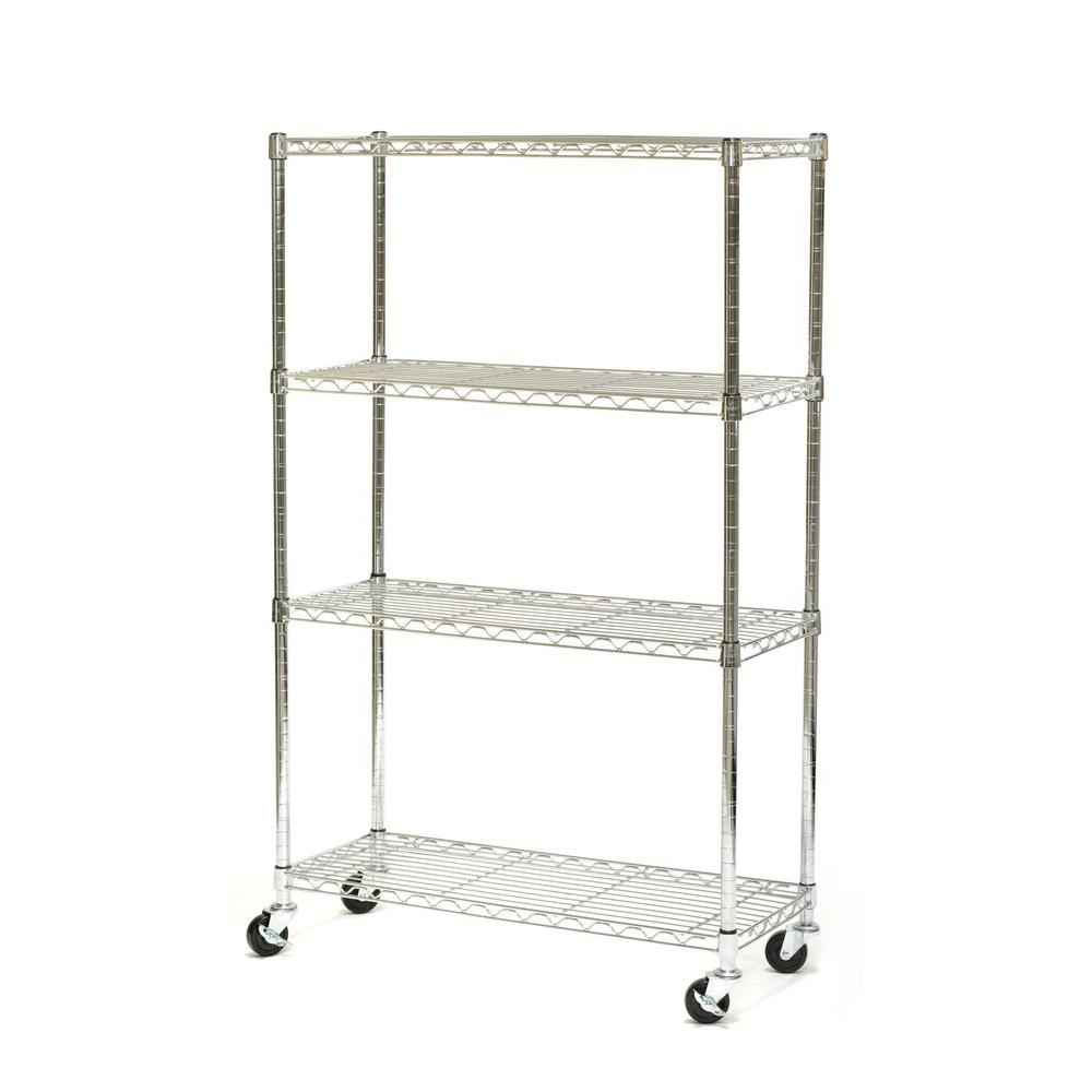 Seville Classics 4-Tier 36 in. W x 54 in. H x 14 in. D Commercial Steel Shelving System with Wheels