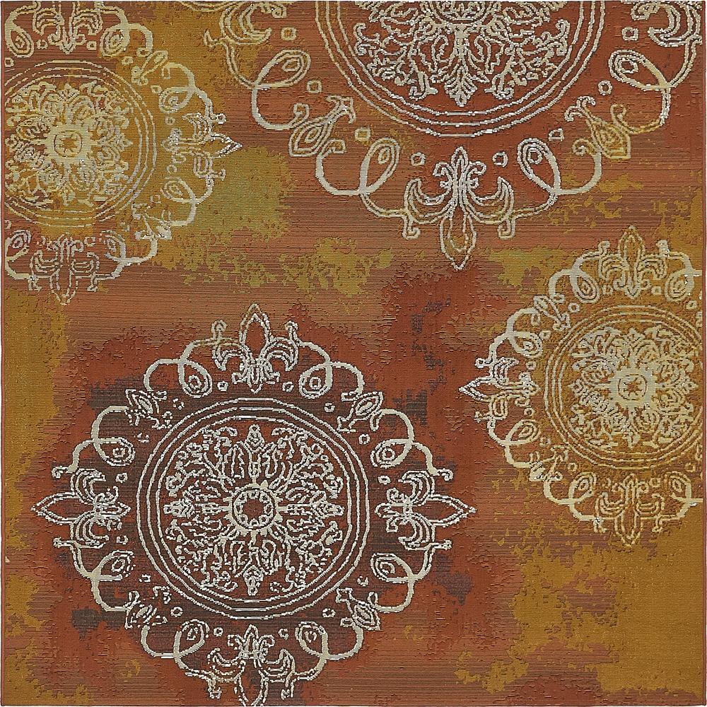 Outdoor Modern Rust Red 6' x 6' Square Rug