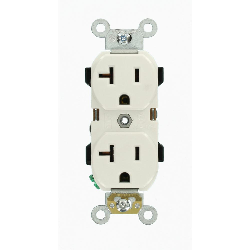 20 Amp Industrial Grade Heavy Duty Self Grounding Duplex Outlet, White