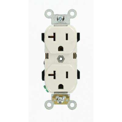 20 Amp Industrial Grade Duplex Outlet, White