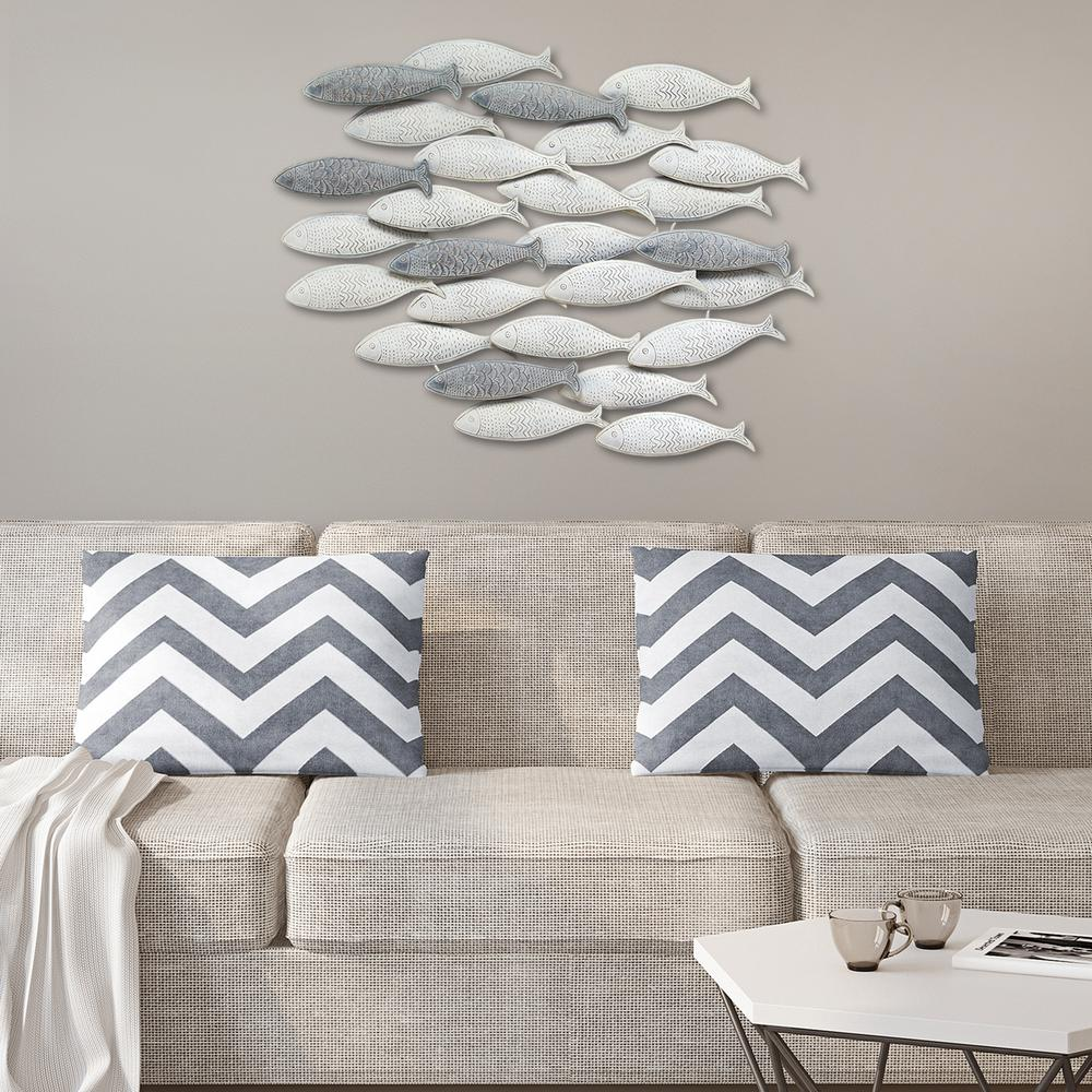 Delightful Grey Metal School Of Fish Wall Decor