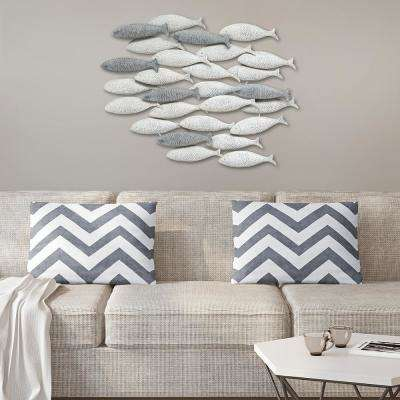 Grey Metal School of fish Wall Decor