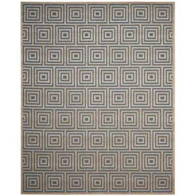 Cottage Light Blue/Cream 8 ft. x 11 ft. Indoor/Outdoor Area Rug