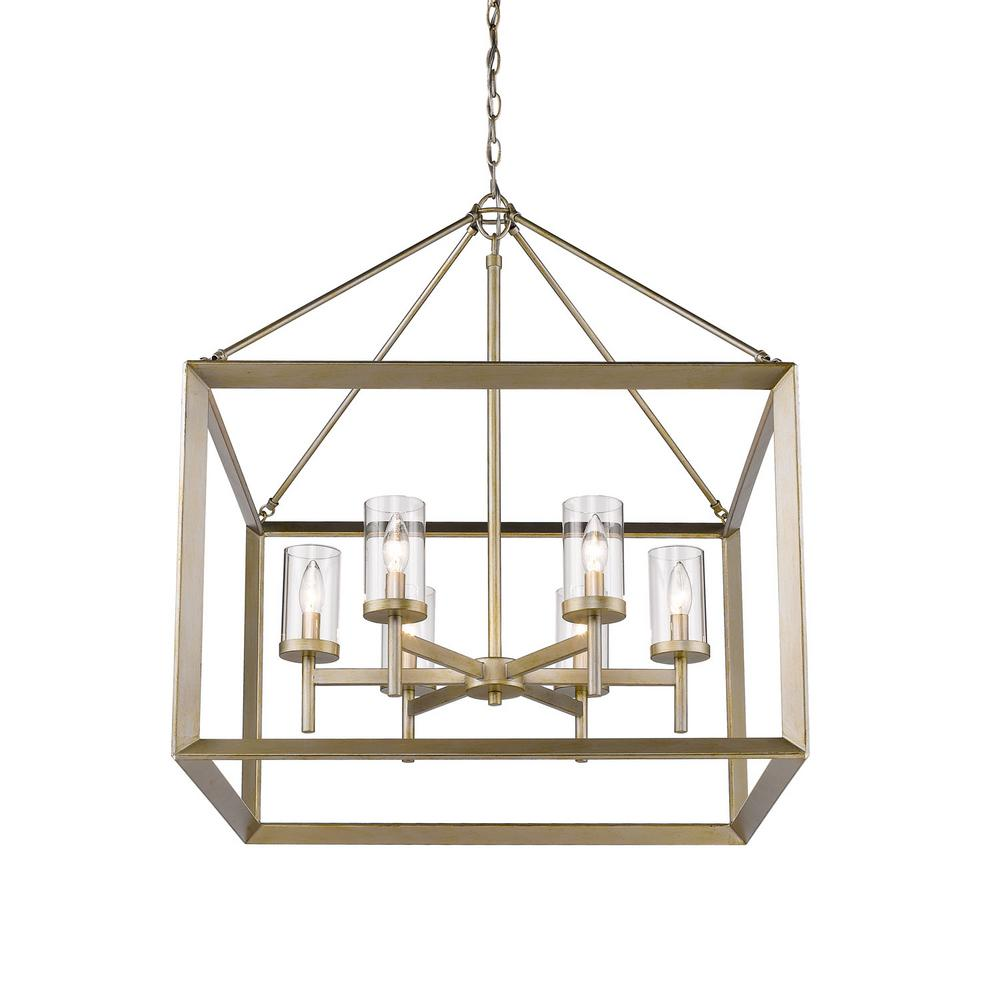 Golden lighting smyth 6 light white gold chandelier with clear glass golden lighting smyth 6 light white gold chandelier with clear glass shade 2073 6 wg clr the home depot arubaitofo Image collections