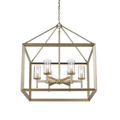 Smyth 6-Light White Gold Chandelier with Clear Glass Shade