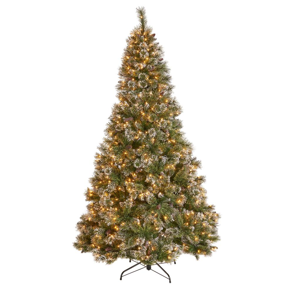 Noble House 9 ft. Pre-Lit Mixed Spruce Hinged Artificial ...