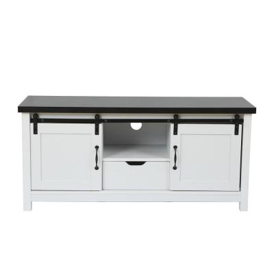 47.3 in. White and Brown Wood TV Stand