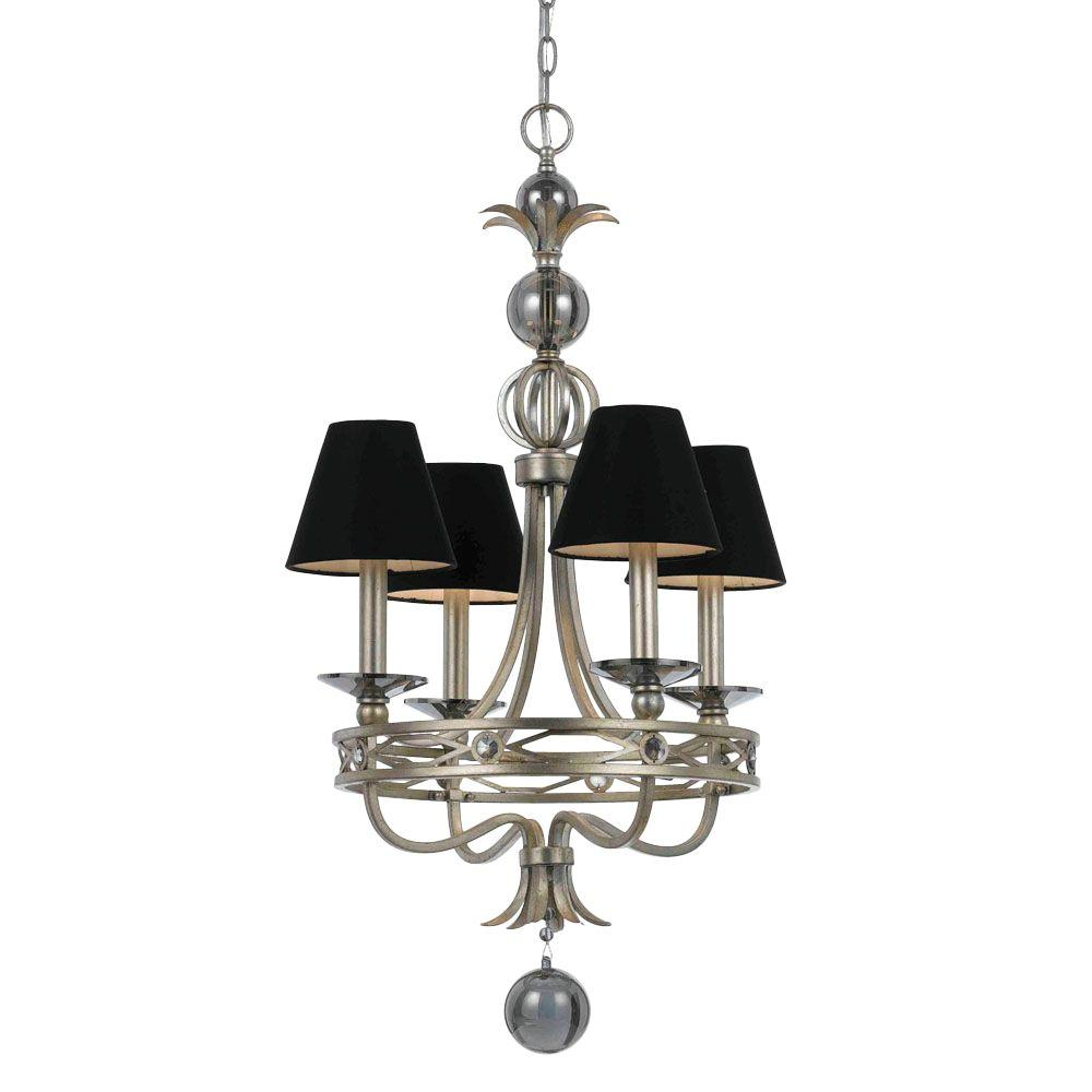 Cirque 4-Light Silver Glint Chandelier with Black Shade