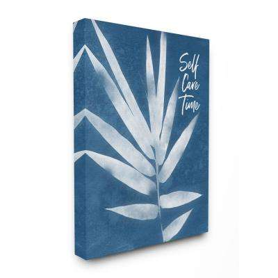 """36 in. x 48 in. """"Self Care Time Indigo Blue Plant Botanical Cyanotype Look Super Canvas Wall Art"""" by Linda Woods"""