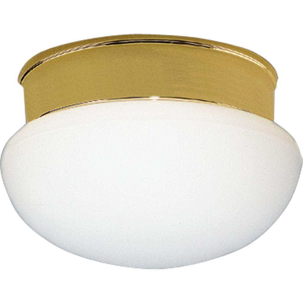 1 Light Polished Brass Flushmount With White Glass