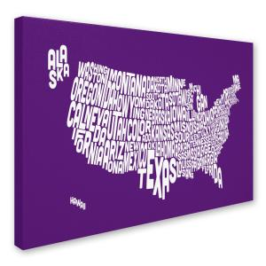 14 In X 19 In Usa States Text Map Purple Canvas Art Mt0230