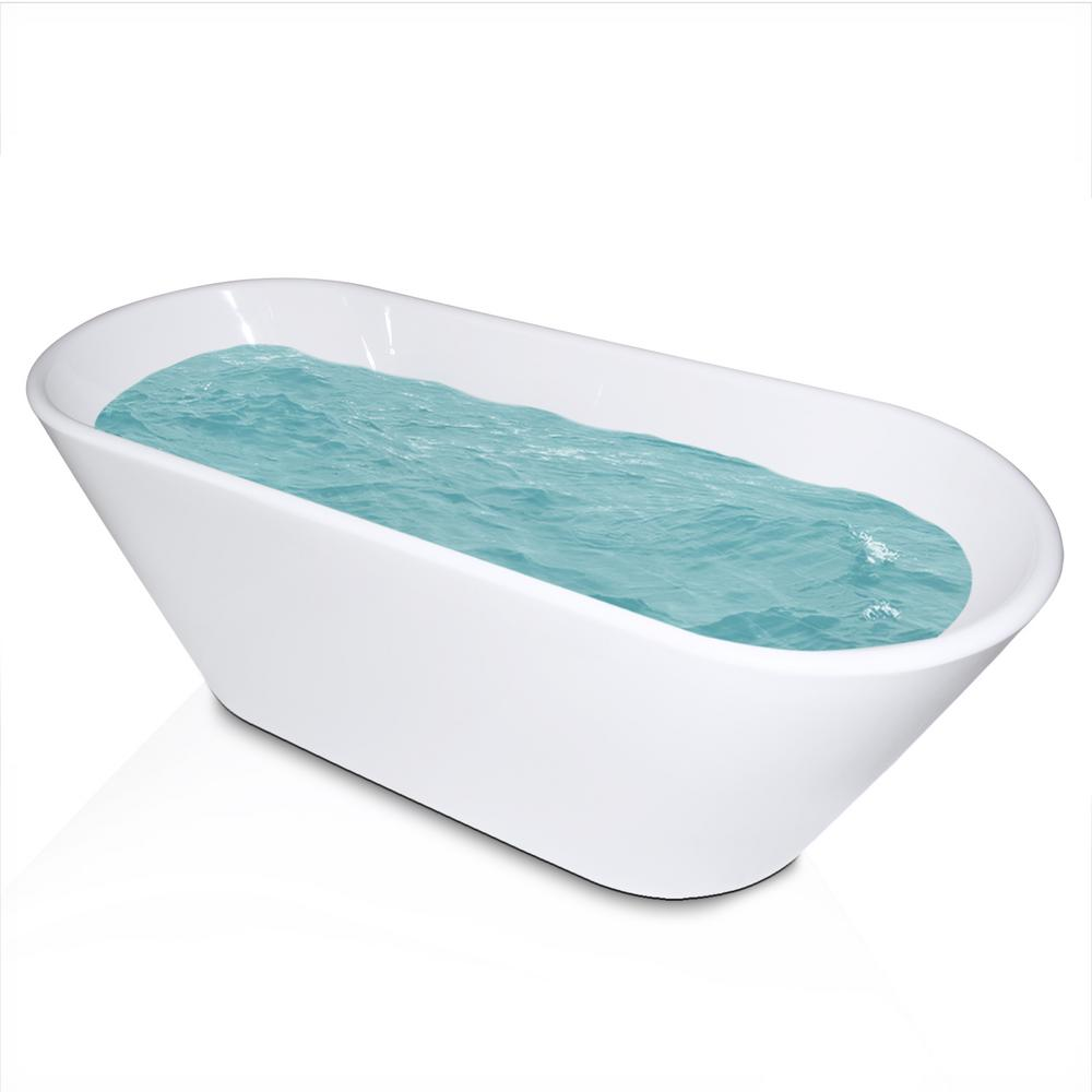 Acrylic Reversible Drain Oval Double Ended Flatbottom Freestanding Bathtub  In White