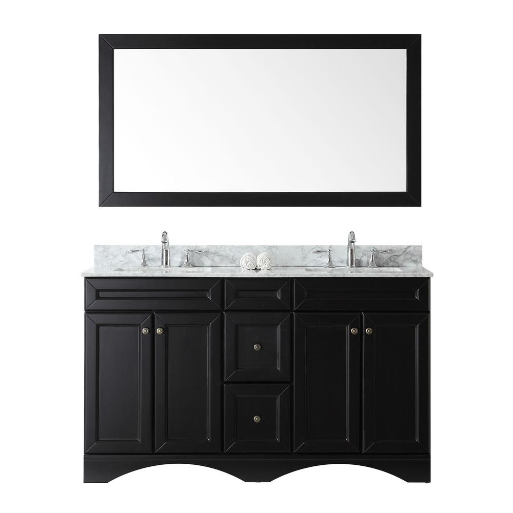 W Bath Vanity In Espresso With Marble Top