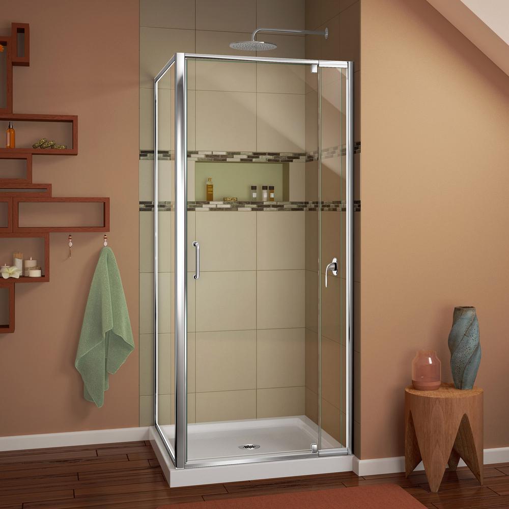 Flex 36 in. x 36 in. x 74.75 in. Corner Semi-Frameless Pivot Shower Enclosure in Chrome with White Acrylic Base