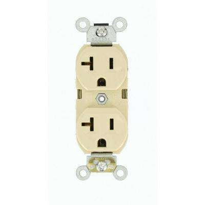 20 Amp 125-Volt Narrow Body Duplex Outlet Straight Blade Commercial Grade Self Grounding, Ivory
