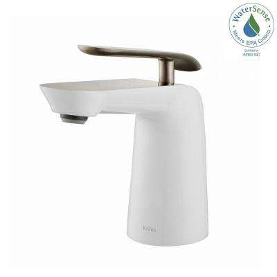 Seda Single Hole Single-Handle Basin Bathroom Faucet in Brushed Nickel and White