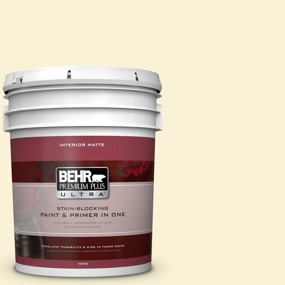BEHR Premium Plus Ultra 5 gal. #390A-2 Pina Colada Matte Interior Paint and Primer in One