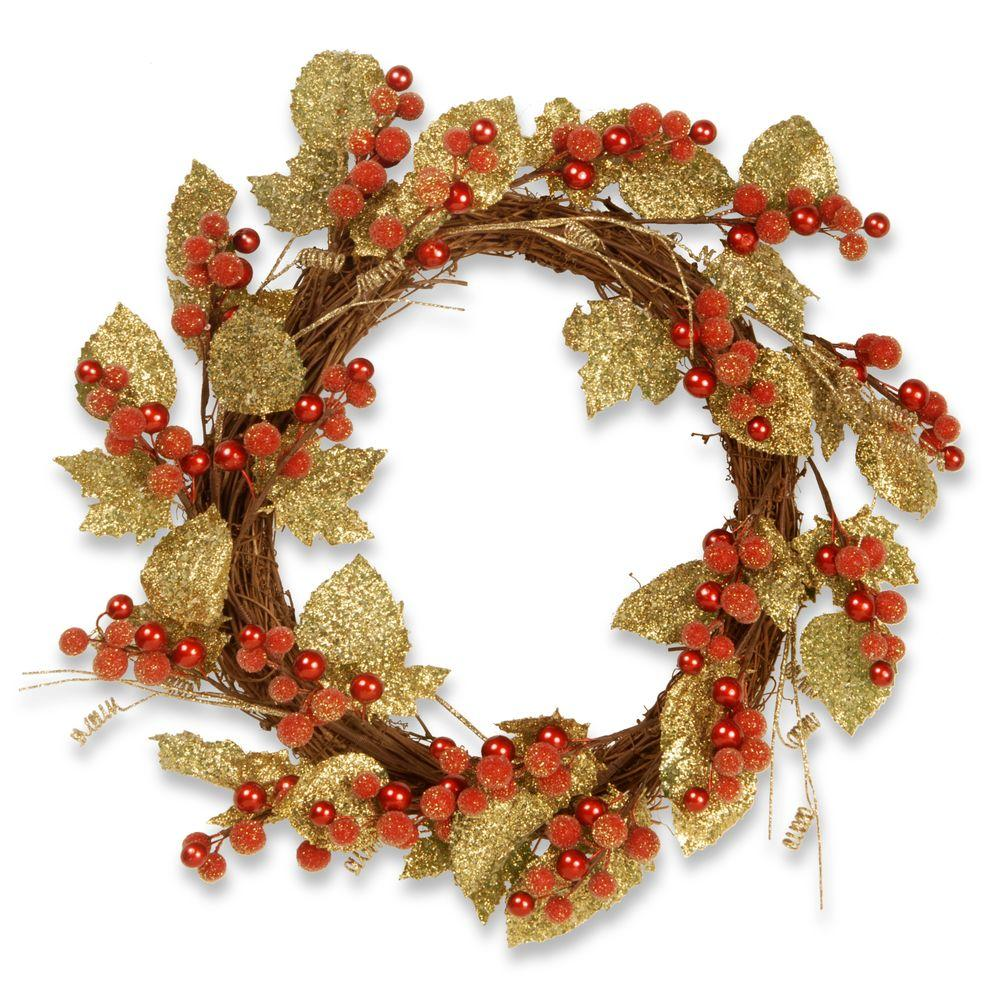 24 in. Berry/Leaf Vine Wreath